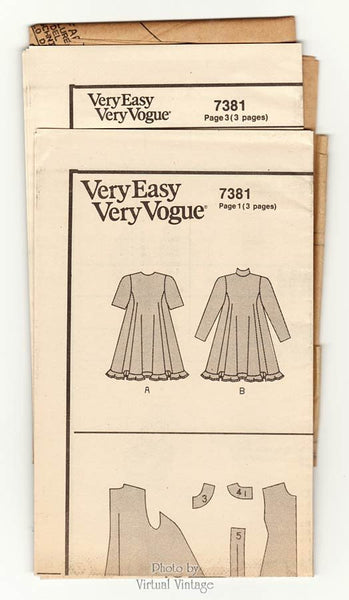 Tent Dress Pattern with Sleeves, Very Easy Vogue 7381, Size 8 10 12, Uncut Sewing Pattern