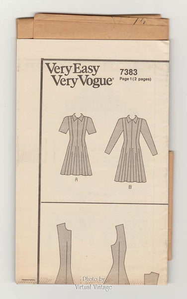 Drop Waist Dress Pattern Very Easy Vogue 7383, Fit & Flare Dress, Sizes 6 8 10 or 12 14 16, Uncut