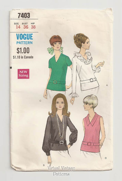 Vogue 7403, 60s Blouse Pattern,  V Neck Overblouse