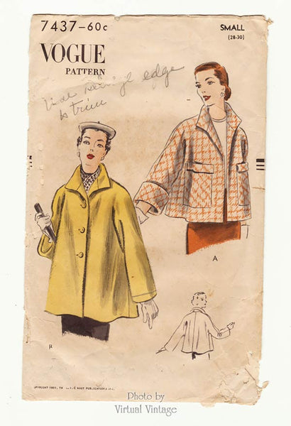 1950s Coat Pattern Vogue 7437
