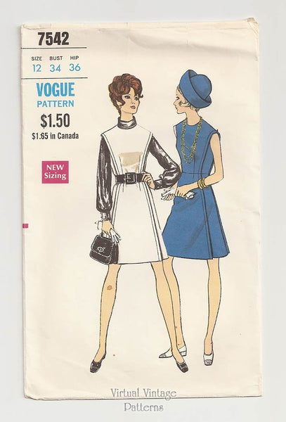 Vogue 7542, 60s A Line Jumper Dress Pattern