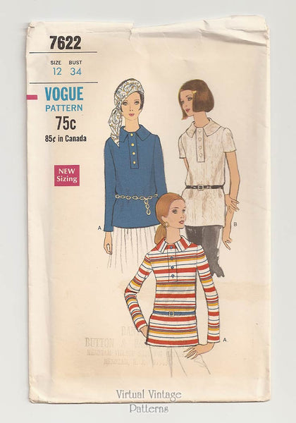 Vogue 7622, 1960s Blouse Pattern