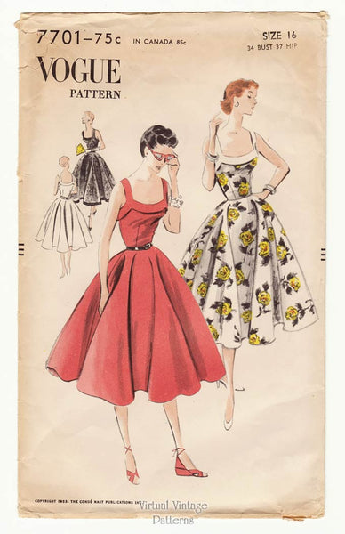 1950s Vogue 7701, Sleeveless Full Skirt Dress Pattern