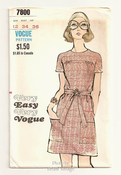 Very Easy Very Vogue 7800, Vintage 1970s Dress Pattern