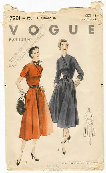 1950s front wrap dress pattern, Vogue 7901