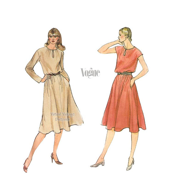 Vintage Blouson Dress Sewing Pattern, Vogue 7927