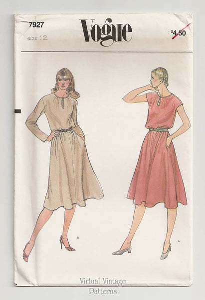 Vogue 7927, Vintage Blouson Dress Sewing Pattern
