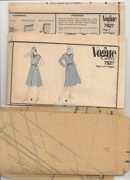 Vintage Blouson Dress Sewing Pattern, Vogue 7927, Bust 34, Uncut