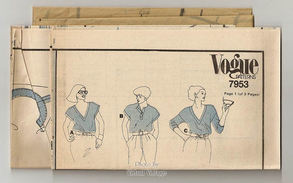 Womens V Neck T Shirt Pattern Vogue 7953, Long or Short Sleeve Pullover Tops Bust 31 1/2 or 34 Uncut