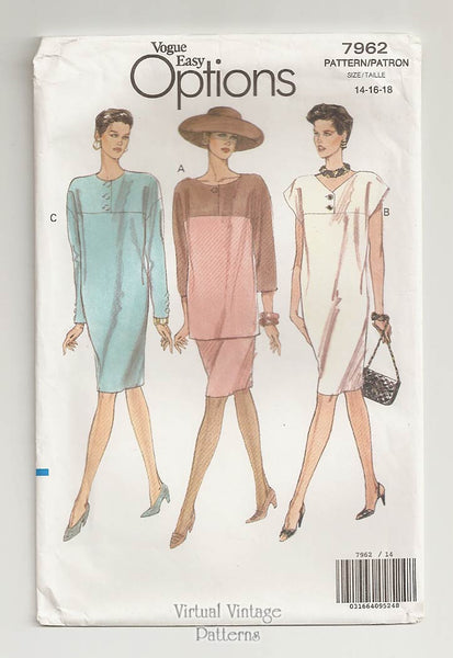 Vogue Easy Options 7962, 90s Tunic Dress Pattern