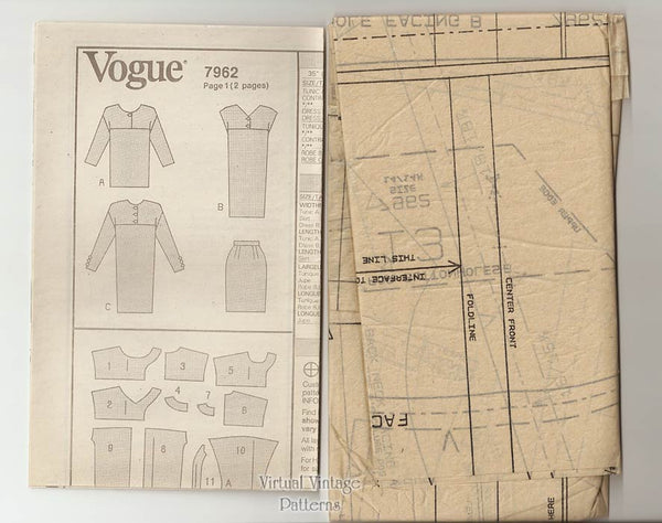 90s Tunic Dress Pattern, Vogue 7962, Easy Dress or Tunic & Skirt, Bust 36 38 40, Uncut