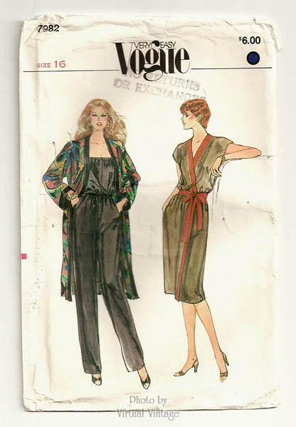 Very Easy Vogue 7982, Wrap Dress, Coat & Strapless Jumpsuit Pattern