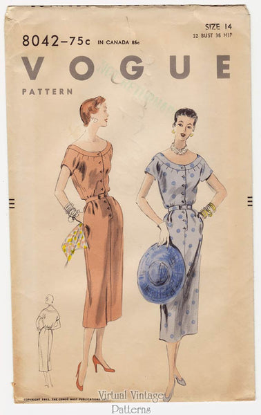 Vogue 8042, 1950s Sheath Dress Pattern