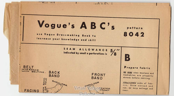 Vogue Sheath Dress Pattern 8042, 1950s Vintage Sewing Pattern, Uncut
