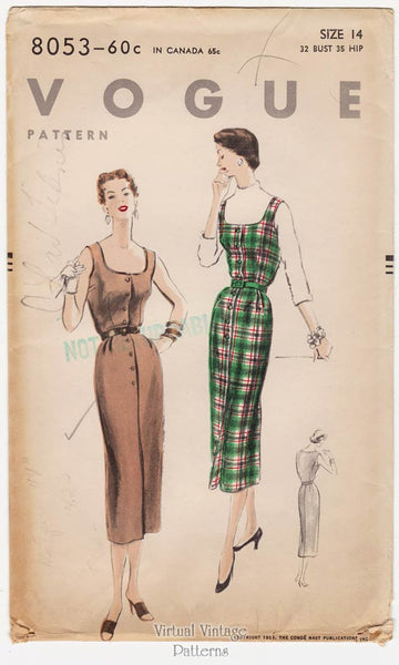 Vogue 8053, 1950s Jumper Dress Pattern