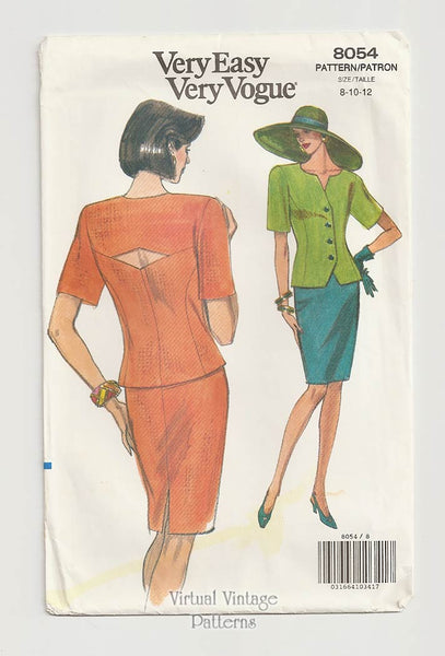 Very Easy Very Vogue 8054, Women's Top & Skirt Pattern