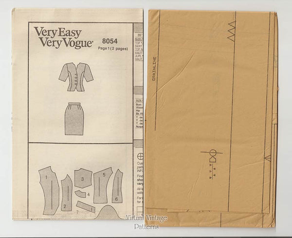 Womens Top & Skirt Pattern, Very Easy Very Vogue 8054, Size 8 10 12, Uncut