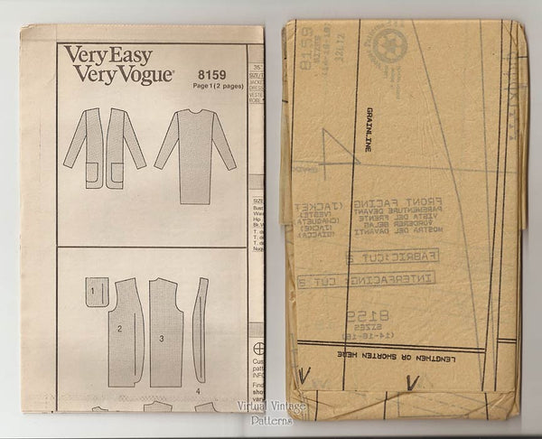 Very Easy Very Vogue 8159, Jacket & Shift Dress Sewing Pattern, Sizes 14 16 18, Uncut