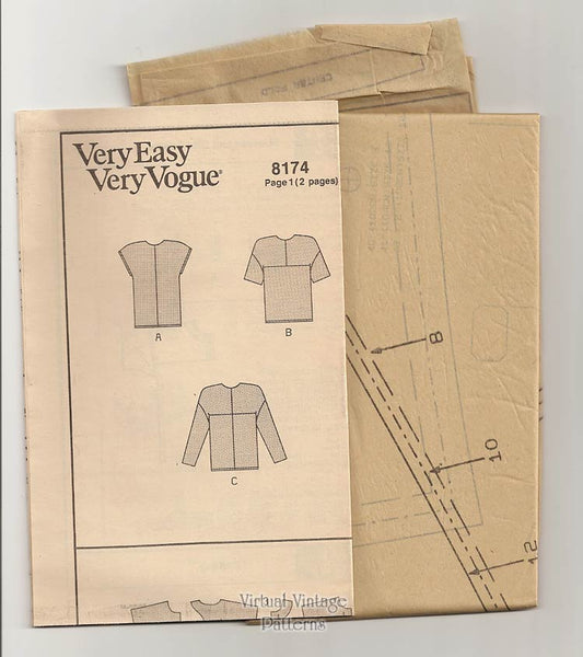 Easy Blouse Pattern, Vogue 8174, Pullover Color Block Tops, Size 8 10 12, Uncut
