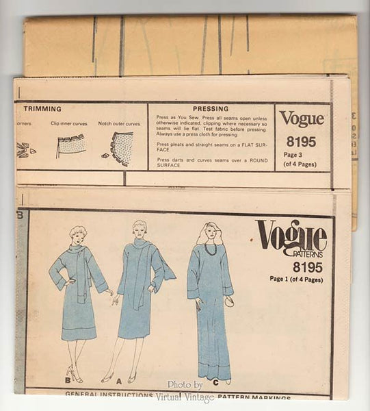 Caftan Dress Pattern, Vogue 8195, Loose-fitting Pullover Dress Day or Evening Length, Bust 34, Uncut