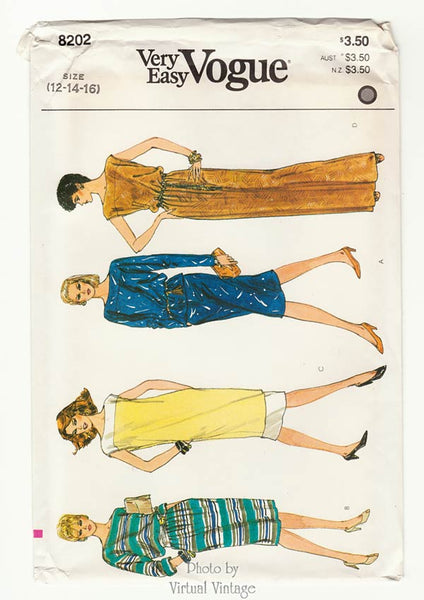 Vogue 8202, Boat Neck Tunic Dress Pattern