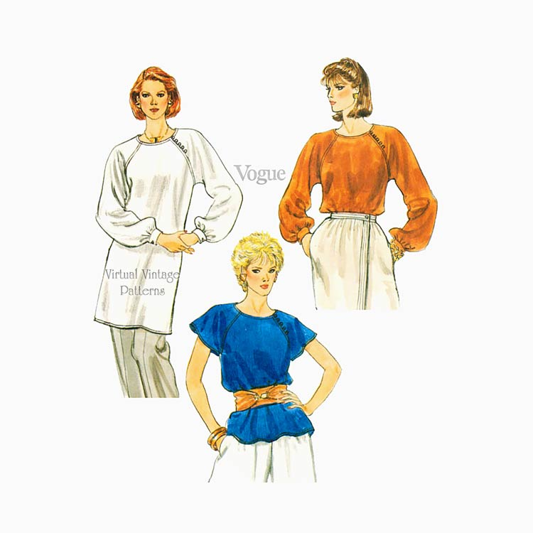 Womens Blouse or Tunic Pattern, Vogue 8268