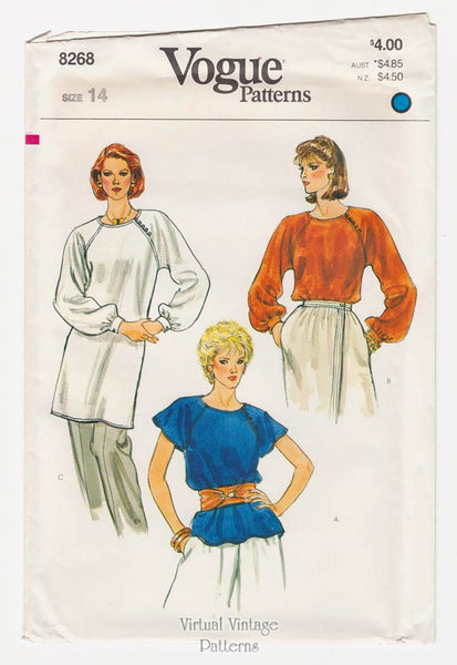 Vogue 8268, Womens Blouse or Tunic Pattern