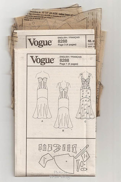 Formal Mermaid Dress Pattern, Vogue V8288, Strapless Evening Gown Patterns, Size 4, 6, 8, 10