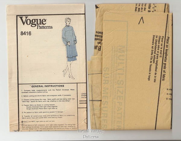Tunic Dress Pattern, Vogue 8416, Pullover Dress or Tunic Top & Skirt, Size 12 14 16, Uncut