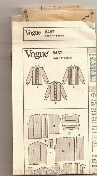 Vogue 8487 Easy Blouse Pattern, Women's Loose-fitting Shirt, Bust 34 36 38, Uncut
