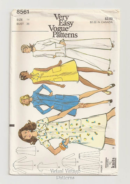 Very Easy Vogue 8561, Tunic Top, Pants & Dress Sewing Patterns