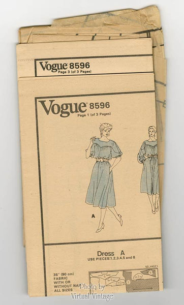Vogue 8596 Blouson Dress Pattern Pullover A Line with Pockets Bust 32 1/2 Uncut