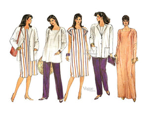 Maternity Clothes Pattern, Vogue 8655, Maternity Caftan, Jacket, Top & Pants