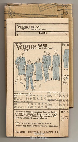Maternity Clothes Pattern, Vogue 8655, Maternity Caftan, Jacket, Top & Pants, Size 14 16 18, Uncut
