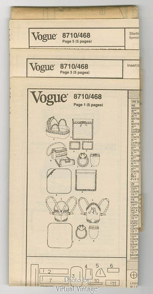 Baby Doll Accessories Vogue 8710 Pattern for Bassinet, Diaper Bag, Carrier, Pillow, Blanket, Hooded Towel, Mitt, Bib