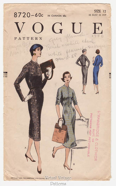 Vogue 8720, 1950s Sheath Dress Pattern