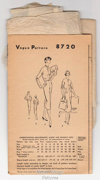 1950s Vogue Sheath Dress Pattern 8720, Easy Sewing Patterns, Bust 30