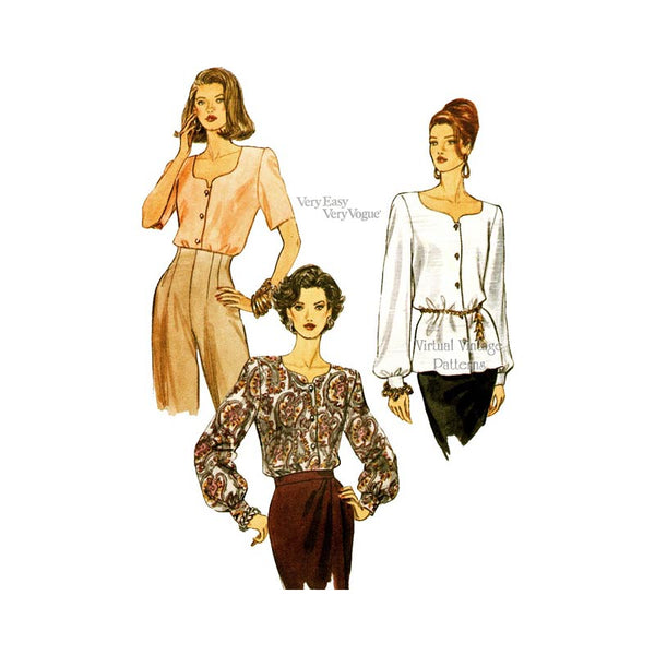 90s Easy Blouse Pattern, Vogue 8725