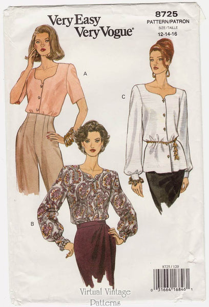 Vogue 8725, 90s Easy Blouse Pattern