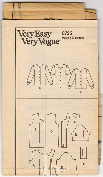 90s Easy Blouse Pattern, Vogue 8725, Loose Fitting Button Front Top, Bust 34 36 38, Uncut