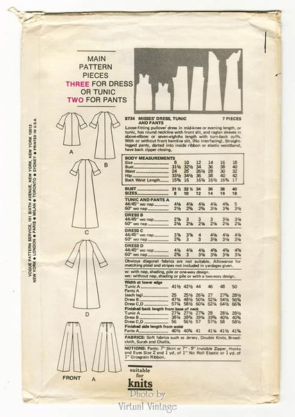 1970s Maxi Dress Pattern Very Easy Vogue 8734 Long or Short Dress or Tunic & Pants, Bust 34, Uncut FF