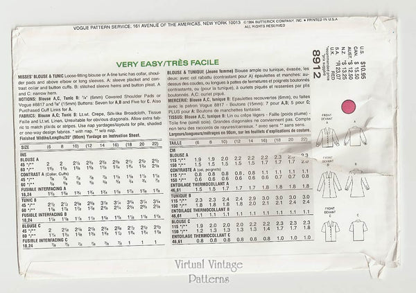 A Line Tunic Pattern, Very Easy Very Vogue 8912, Loose-fitting Blouse, Size 6 8 10, Uncut