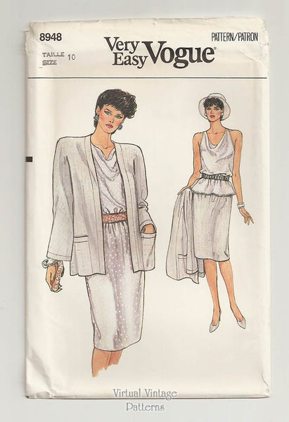 Very Easy Vogue 8948, Jacket, Top & Skirt Sewing Patterns, Size 10
