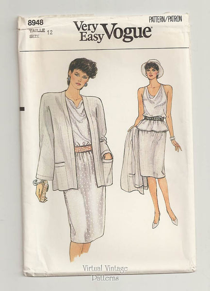 Very Easy Vogue Pattern 8948, Jacket, Top & Skirt Sewing Patterns