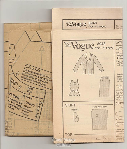 Very Easy Vogue Pattern 8948, Jacket, Top & Skirt Sewing Patterns, Size 10 or 12, Uncut