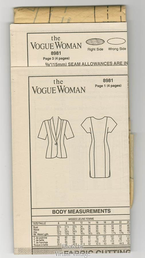 Plus Size Sewing Pattern Vogue 8981 Straight Dress With Jacket Sizes 2