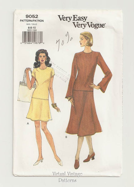 Very Easy Very Vogue 9052, Drop Waist Midi Dress Pattern