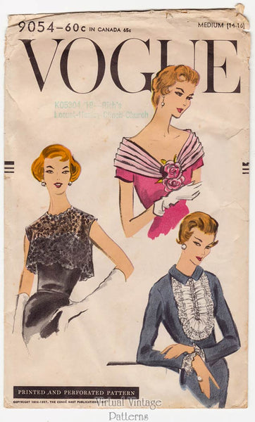 Vintage Vogue Sewing Pattern 9054, 1950s Bolero, Fichu, Cuffs, & Jabot