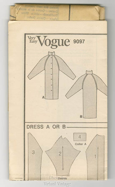 80s Sack Dress Pattern Very Easy Vogue 9097, Mock Turtleneck Button Front Dress Sizes 8 10 12 Uncut