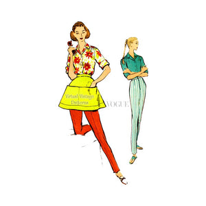 1950s Sewing Pattern, Vogue 9139, Womens Shirt, Pants & Half Apron Patterns